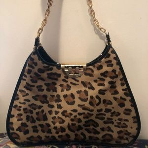 Tory Burch Leopard Pony Hair Patent Hobo Bag